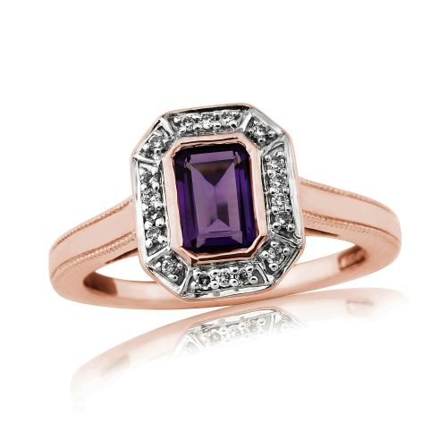 Amethyst And Diamond 9 Carat Rose Gold Octaganal Cut Cluster Ring